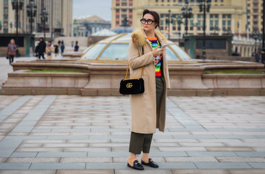 Le Fashion Blog PFW Fur Collar Coat Colorful Gucci Sweater Black Crossbody Olive Trousers Black Loafers Via Vogue