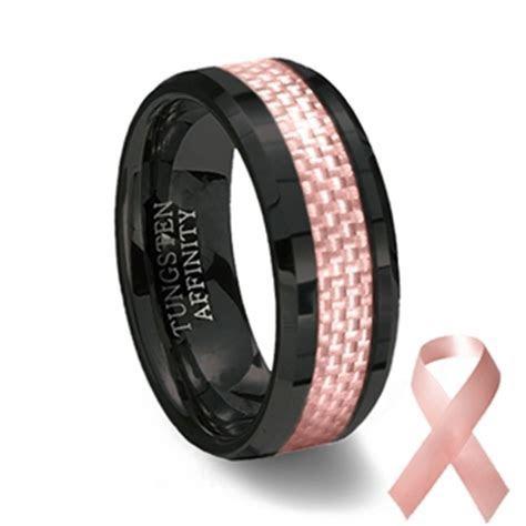 Black Ceramic & Pink Carbon Fiber Ring   Pink Wedding Band