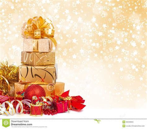 Gift Box In Gold Wrapping Paper Stock Image   Image: 35040653