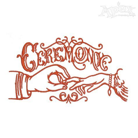 Wedding Couple Rings Embroidery Design