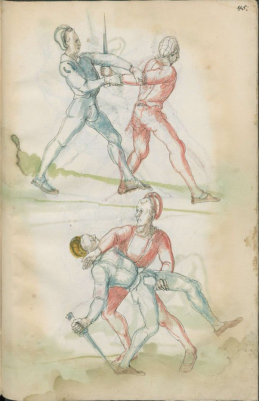 16th century sword fight manuscript drawing - Combat training 7