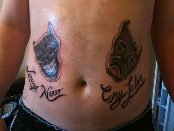 Laugh Now Cry Later Mask Tattoos On Back Photo 1 2017 Real Photo