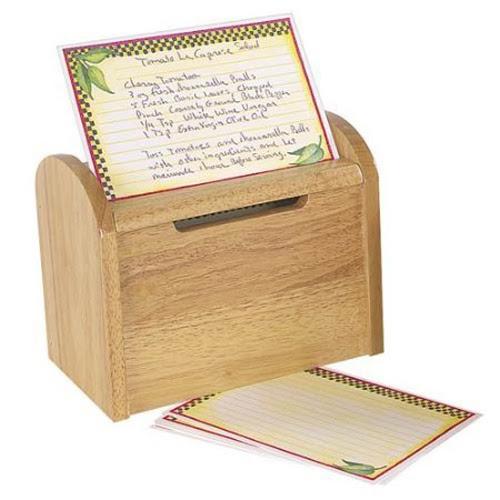 Fox Run Wooden Recipe Card Box
