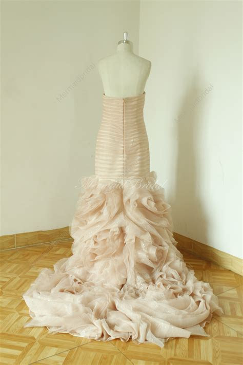 Blush Fit And Flare Sequined Wedding Dress By