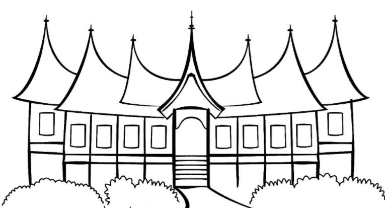 84 Sketsa Gambar Rumah Adat Padang Hd Gambar Rumah
