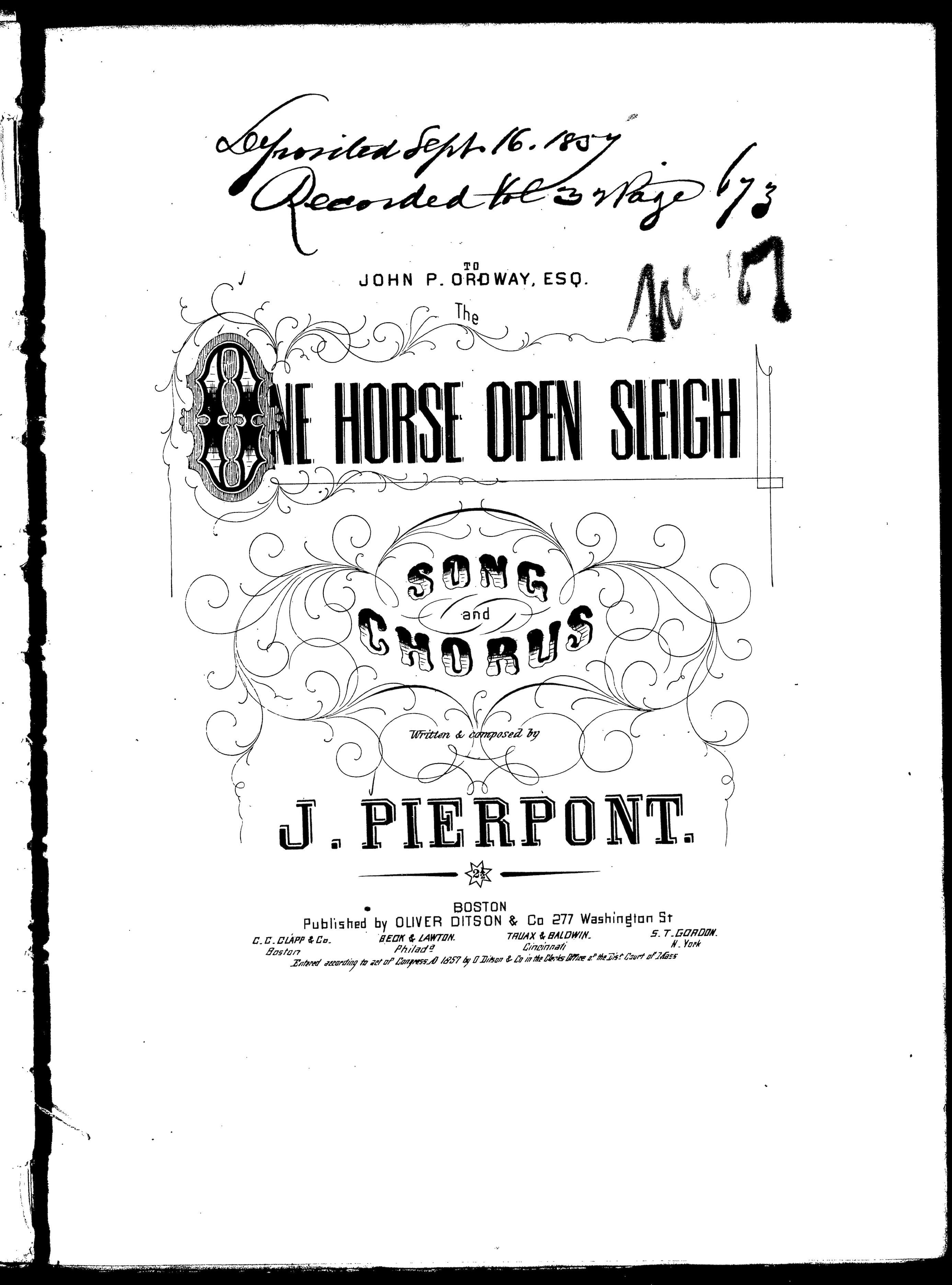 The One Horse Open Sleigh Library Of Congress