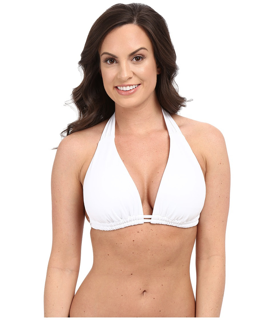 BECCA by Rebecca Virtue - Color Code Halter D\/DD\/DDD Top (White) Women's Swimwear