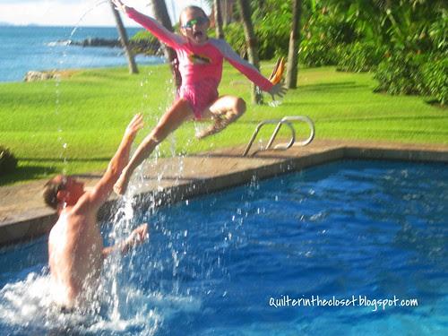 Ashley flying into pool