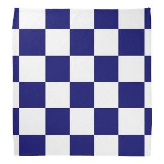 Checkered Navy and White Bandana