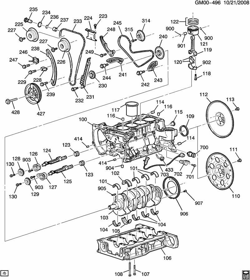 ENGINE ASM-2.4L L4 PART 1 CYLINDER BLOCK & INTERNAL PARTS
