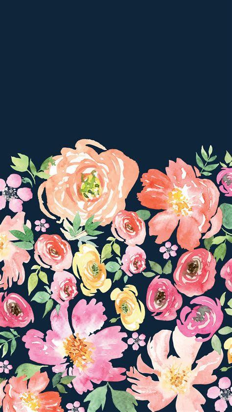 navy floral wallpaper iphonebackgrounds kira