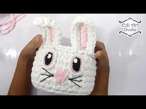 Cesto coelho de crochê fio de malha - Tutorial - cesto organizador | Edi Art Crochê