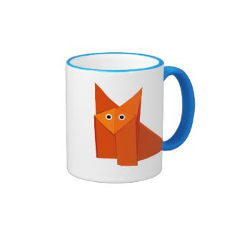Cute Origami Fox Children's Ringer Coffee Mug