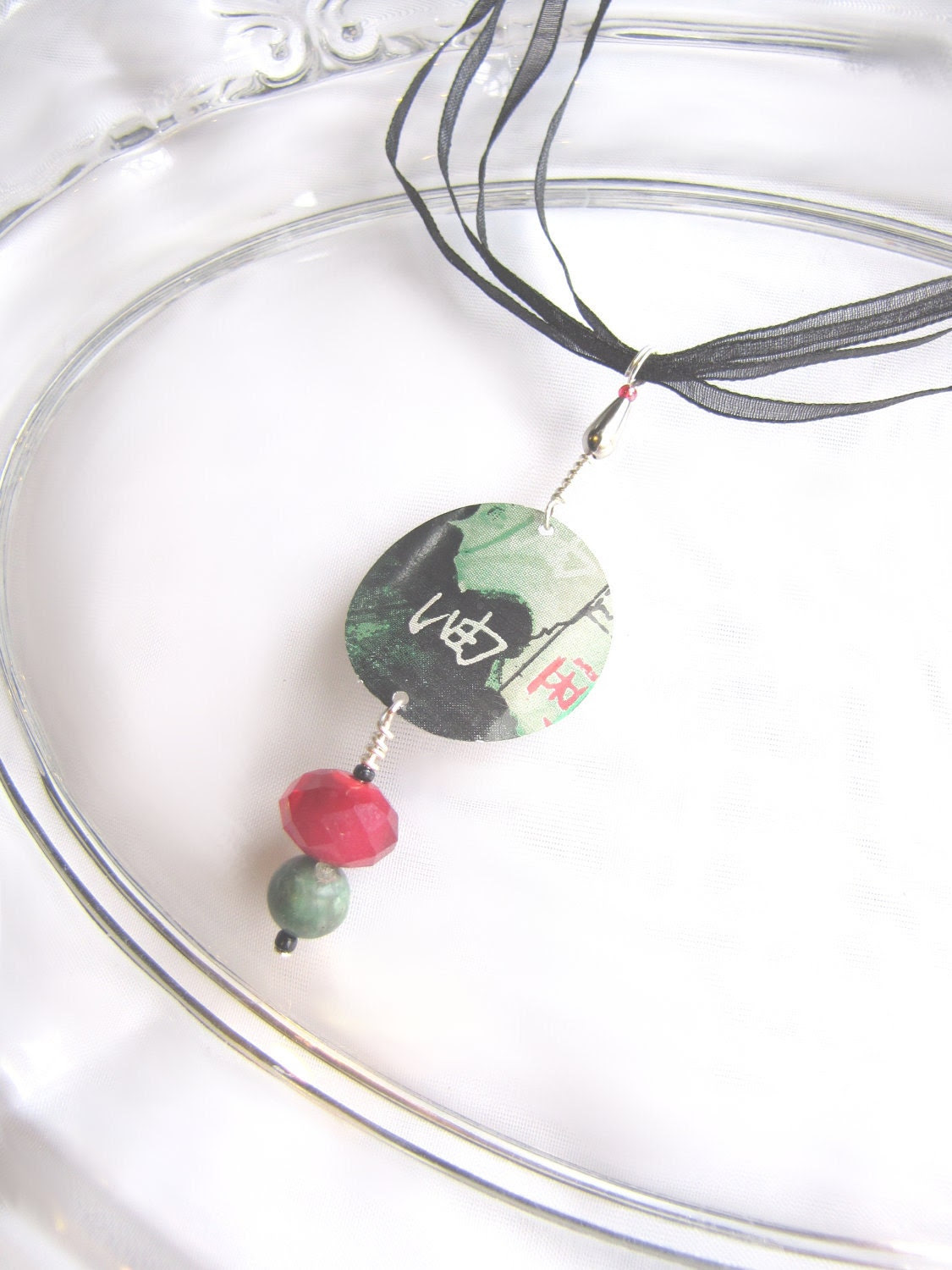 Asian Amulet Necklace with Gemtones - Recycled Soda Can