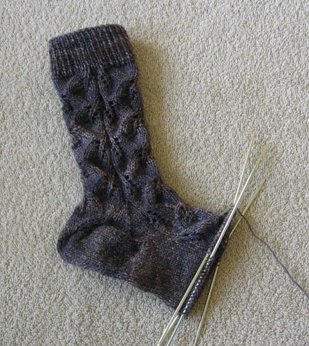 Gray Embossed Leaves sock