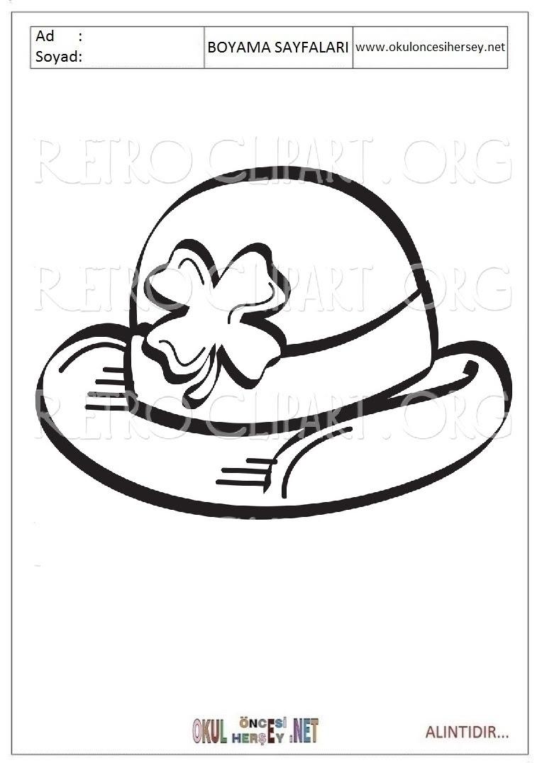(seçilmiş) Okul öncesi şapka Boyama