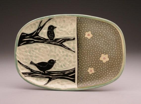 Spring Birds - rectangular plate - Ruchika Madan