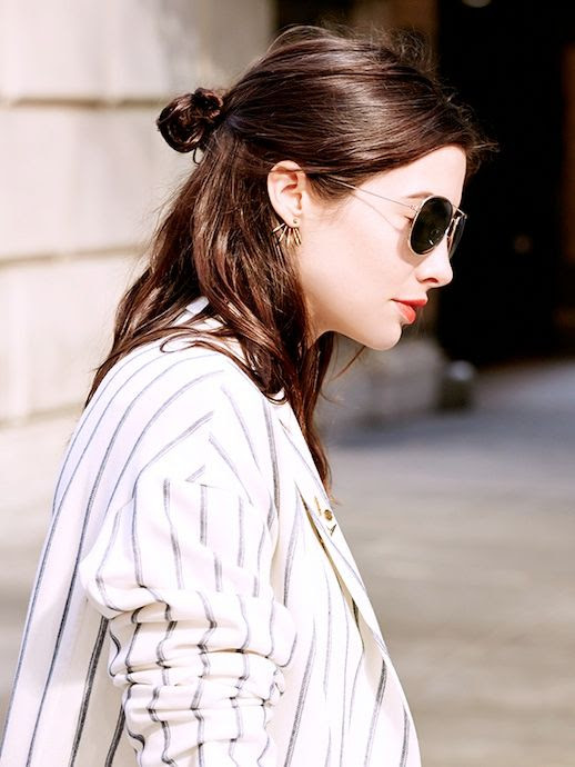 1 Le Fashion Blog 20 Inspiring Half Up Top Knot Hairstyles Kat Collings Brown Hair Bun Red Lips Via Who What Wear
