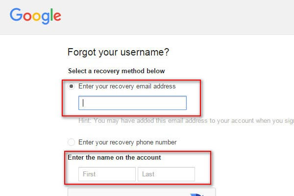 Enter Your Recovery Email Address for Further Operation