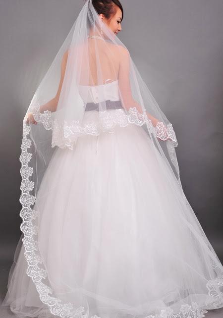 Beautiful White 300*150cm Net Yarn Lace Trim Bridal Wedding Veil