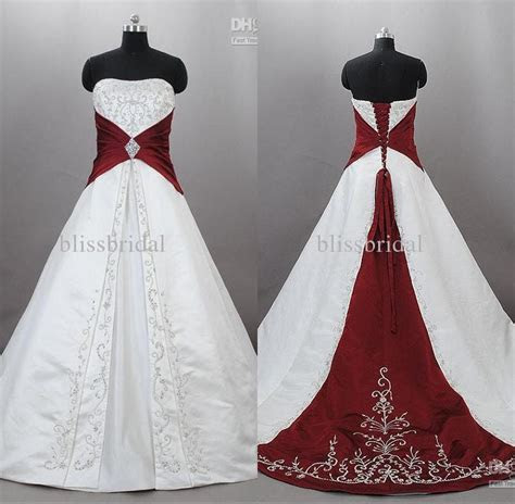 Junoesque Strapless Satin Embroidery Red And White Wedding