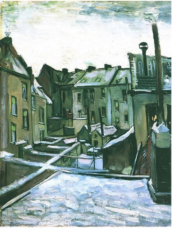 Backyards of old Houses in Antwerp in the Snow