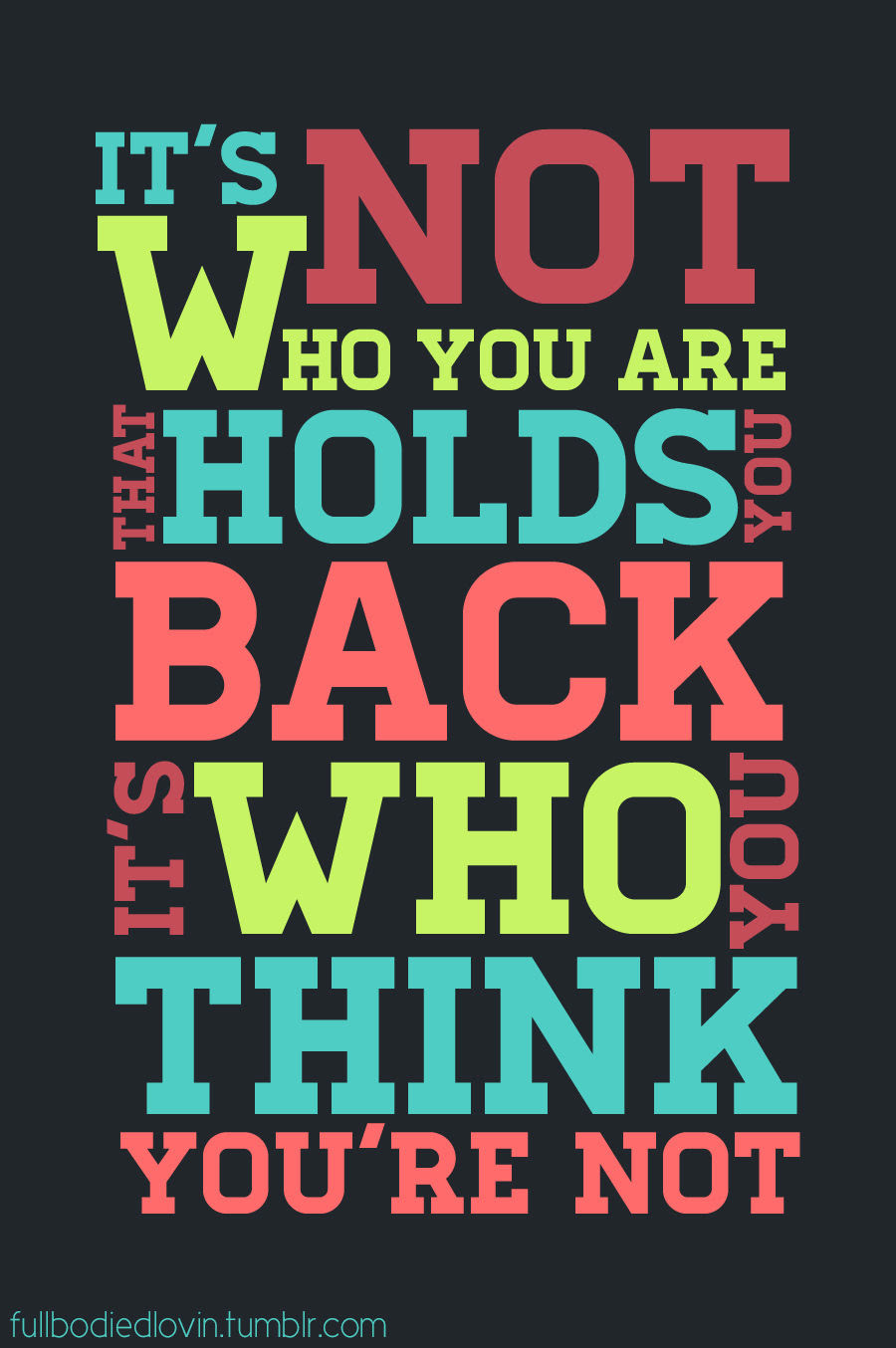 Its Not Who You Are That Holds You Back Its Who You Think You Are