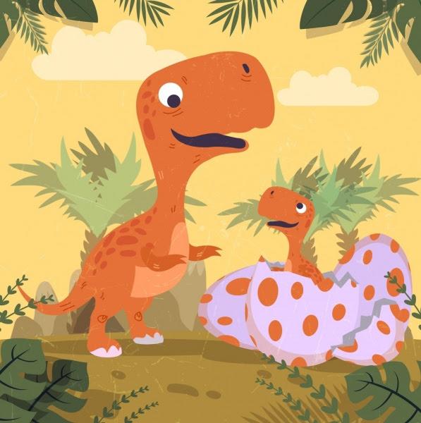 Dinosaurus Latar Belakang Telur Bayi Ikon Kartun Berwarna Kartun