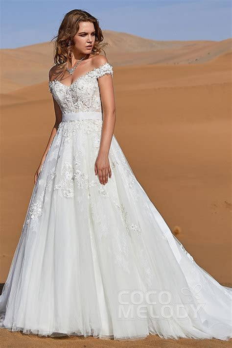 A Line Off The Shoulder Lace Up Corset Wedding Dress