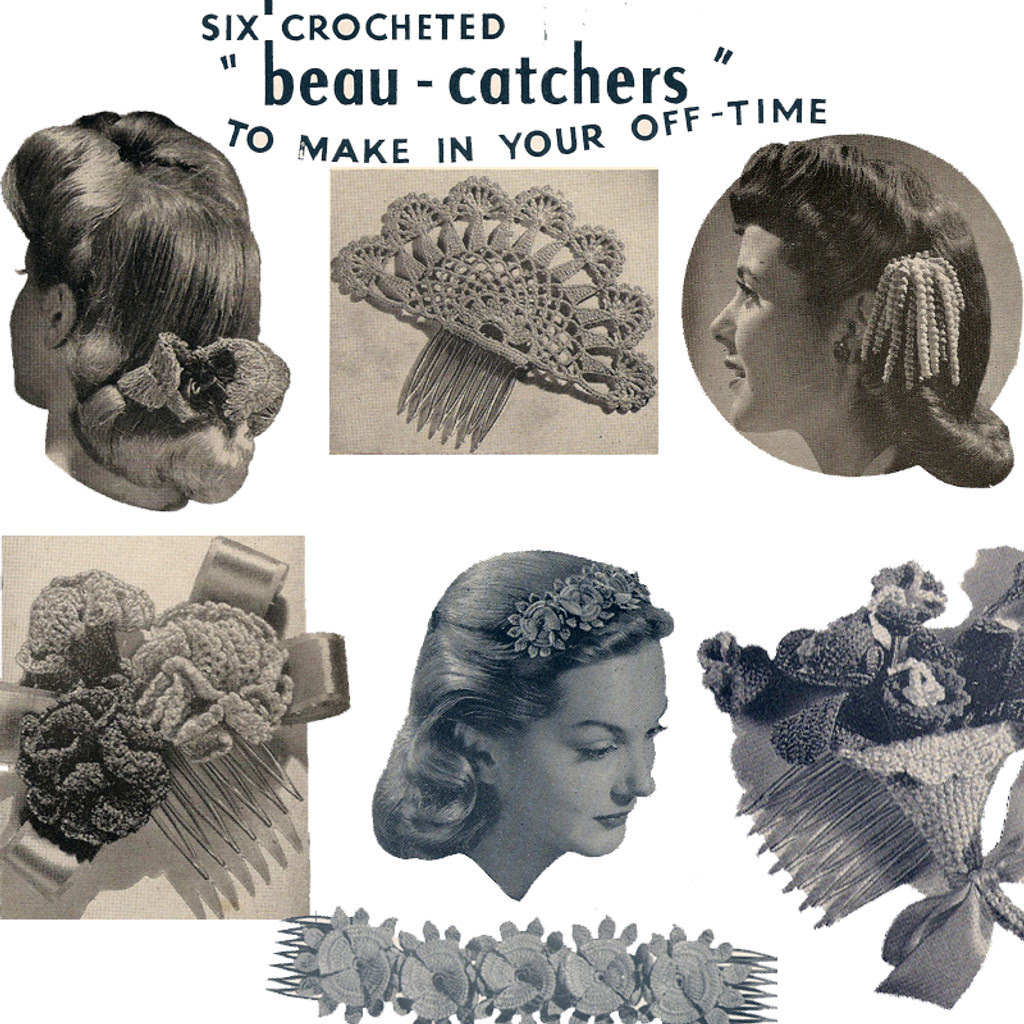 Lily Mills Leaflet 112-b, hair crochet accessories