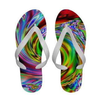 Red Swirl Abstract Flip-Flops