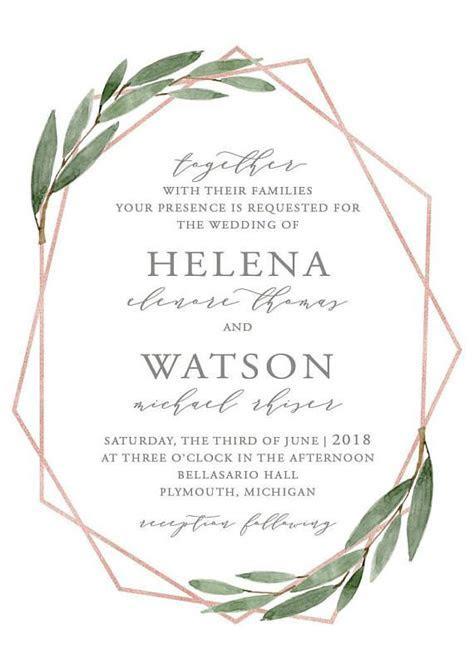 Greenery Geometric Rose Gold Wedding Invitation Set