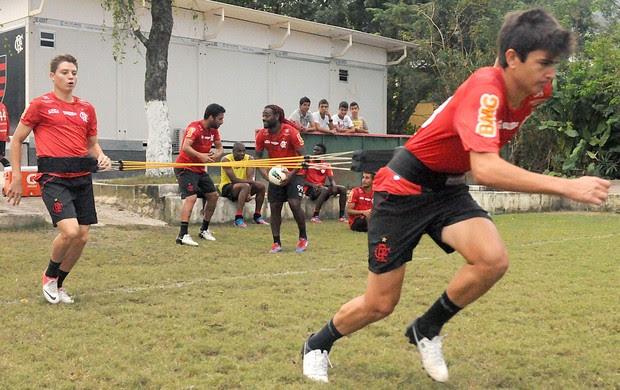 Mattheus e Adryan, treino do Flamengo (Foto: Alexandre Vidal / Fla Imagem)
