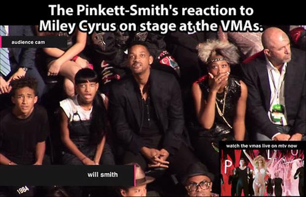 will smith's reaction to miley cyrus on stage vma awards