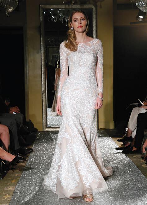 Oleg Cassini Classic Long Sleeve Trumpet Wedding Gown