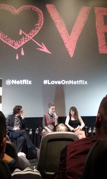 Paul Rust, Gillian Jacobs and Claudia O'Doherty do a Q&A panel for LOVE at Landmark Theatres in west Los Angeles...on June 14, 2016.