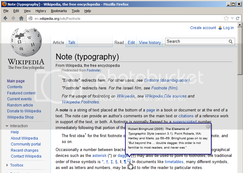 Screenshot of a Wikipedia page, showing new balloon tip containing reference displayed when hovering over link to ref