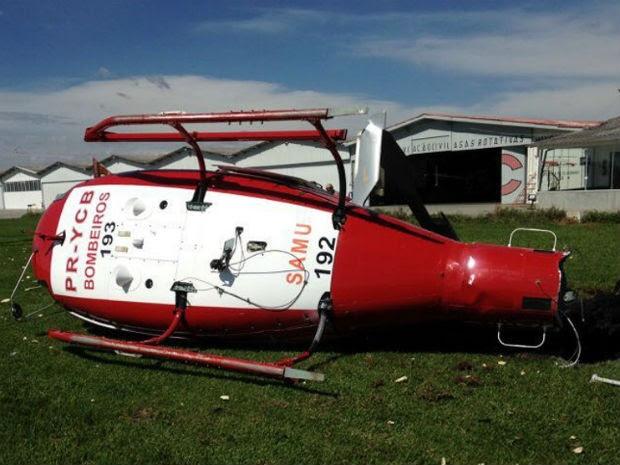 Piloto e copiloto sofreram escoriações, de acordo com o Corpo de Bombeiros. (Foto: CCS do CBMSC / Capitão BM Marco Antônio Eidt – Ajudante de Ordens do Comando-Geral)