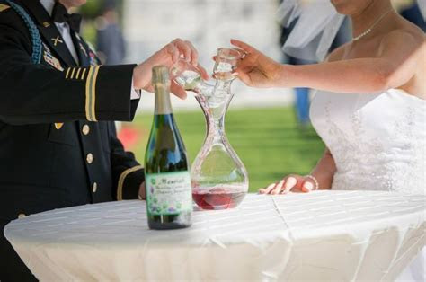 Wine themed wedding unity ceremony, white wine and red