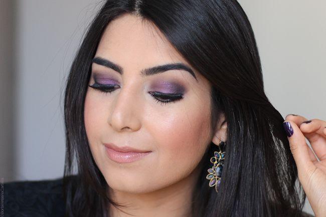 tutorial de maquiagem roxa purple love borboletas na carteira
