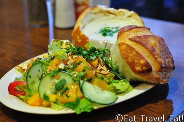Boudin SF- Irvine, CA: Soup & Salad Combo- Clam Chowder and Thai Citrus Chicken Salad