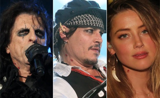 Alice Cooper, Johnny Depp e Amber Heard (Foto: Foto Rio News)