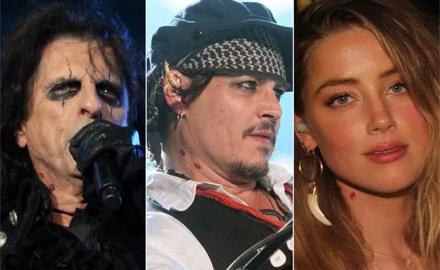 Alice Cooper, Johnny Depp e Amber Heard (Foto: Foto Rio News)