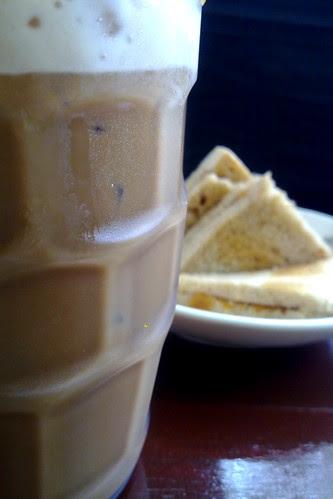 Iced kopi-c and kaya toast