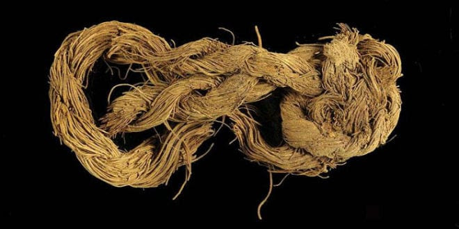 Rope made from the fibers of a date palm tree found at the Timna site. (Photo: Clara Amit, courtesy of the Israel Antiquities Authority/JNi Media)