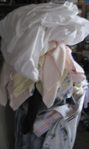 the towering pile of laundry