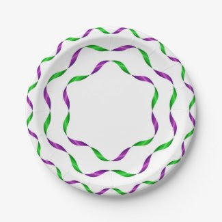 Paper Plates with Ribbon Design 7 Inch Paper Plate