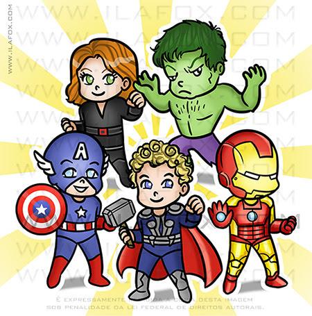 caricatura infantil, caricatura avengers, vingadores, caricatura para aniversário, caricatura personalizada, caricatura fofa, by ila fox