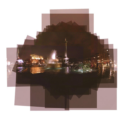 panography of Trafalgar Square after the rain