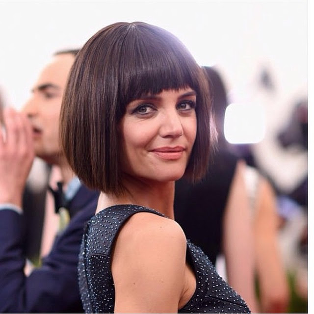 Classic Short Brunette Blunt Bob Haircut With Blunt Bangs For Women